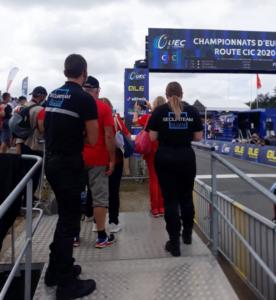 Championnat d'Europe de cyclisme à Plouay, nos agents assure la sécurité.
